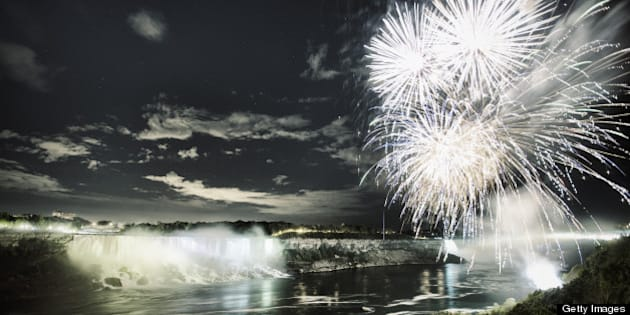 Fireworks over Niagara Falls on Victoria Day