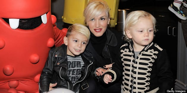 Singer Gwen Stefani with sons Kingston (L) and Zuma Rossdale meets YO GABBA GABBA! characters backstage at YO GABBA GABBA! @ KIA PRESENTS YO GABBA GABBA! LIVE! THERE'S A PARTY IN MY CITY produced by S2BN Entertainment in association with The Magic Store and W!LDBRAIN Entertainment at Nokia L.A. LIVE on November 27, 2010 in Los Angeles, California.
