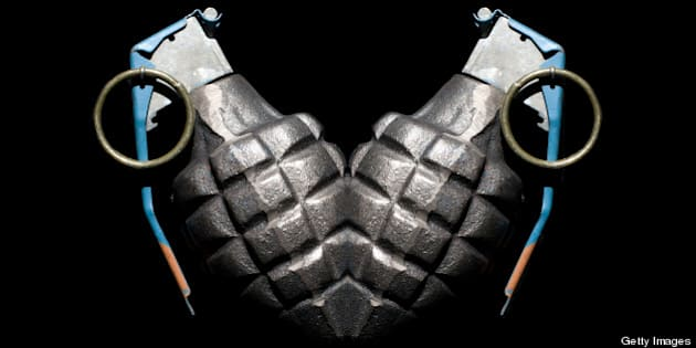 Grenade mirrored to look like a heart.