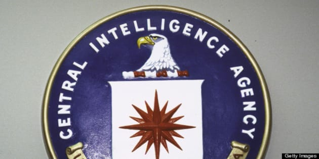 Central Intelligence Agency seal hanging on wall.  (Photo by Terry Ashe//Time Life Pictures/Getty Images)