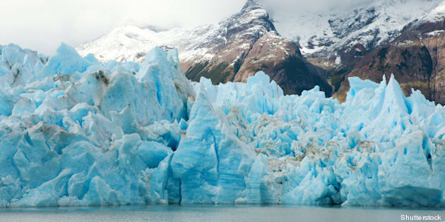 blue icebergs and snowy...
