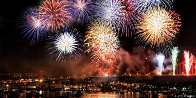 Fireworks exploding over McDonald bridge in Halfax, Nova Scotia, Canada.