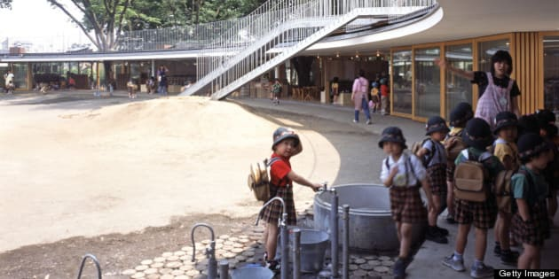 Fuji Kindergarten, Tokyo, Japan, Architect Tezuka Architects, 2007, Fuji Kindergarten Exterior Views. (Photo by View Pictures/UIG via Getty Images)