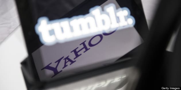 A picture taken on May 20, 2013 in Paris, shows logos of the brands Tumblr and Yahoo! on the screen of tablets. Yahoo! bought today the popular blogging platform Tumblr for $1.1 billion. AFP PHOTO / FRED DUFOUR        (Photo credit should read FRED DUFOUR/AFP/Getty Images)