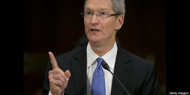 Tim Cook, chief executive officer of Apple Inc., speaks during a Senate Permanent Subcommittee on Investigations hearing in Washington, D.C., U.S., on Tuesday, May 21, 2013. Apple Inc. used 'loopholes' to avoid paying $9 billion in U.S. taxes in 2012, U.S. Senator Carl Levin said.  Photographer: Andrew Harrer/Bloomberg via Getty Images