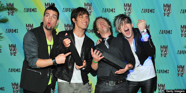 TORONTO, ON - JUNE 17:  Marianas Trench pose in the press room at the 23nd Annual MuchMusic Video Awards at the MuchMusic HQ on June 17, 2012 in Toronto, Canada.  (Photo by George Pimentel/WireImage)