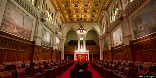 Interior of Canadian Parliament Building of  Canadian Senate chambers in Ottawa, Ontario.