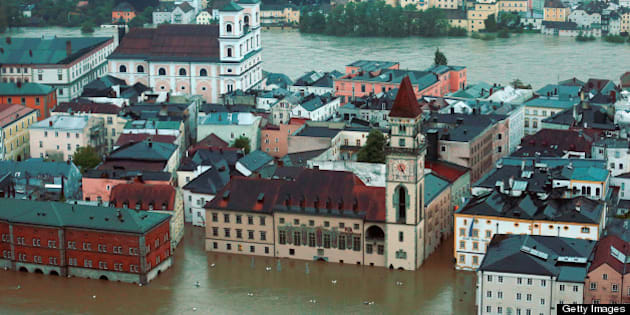 PASSAU, GERMANY - JUNE 03:  General view of  Passau, flooded by the rising River Danube on June 3, 2013 in Passau, Lower Bavaria, Germany. Heavy rains across portions of Germany are causing flooding and ruining crops, with the town of Passau, also known as Dreifluessestadt or 'City of Three Rivers' particularly affected by flooding from its proximity to rivers Danube, Inn and Ilz.  (Photo by Johannes Simon/Getty Images)
