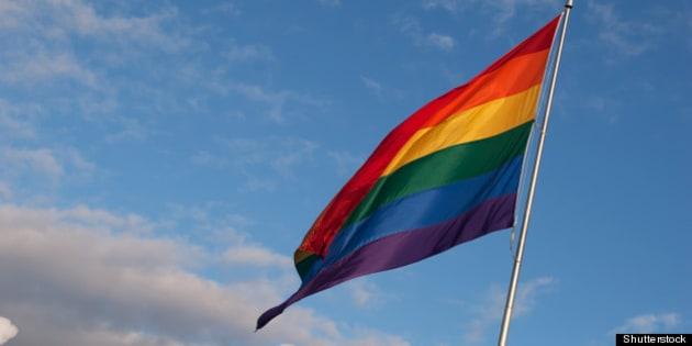 huge rainbow gay pride flag...