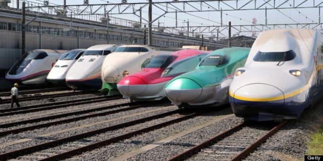 OYAMA, JAPAN - MAY 19:  (CHINA OUT, SOUTH KOREA OUT) All successive series of Tohoku Shinkansen bullet trains, (L to R) E3 Komachi, E3 Tsubasa, E1 Max, 200, E6, E5 and E4 Max are displayed at JR East's Oyama Shinkansen Train Center on May 19, 2012 in Oyama, Tochigi, Japan. (Photo by The Asahi Shimbun via Getty Images)