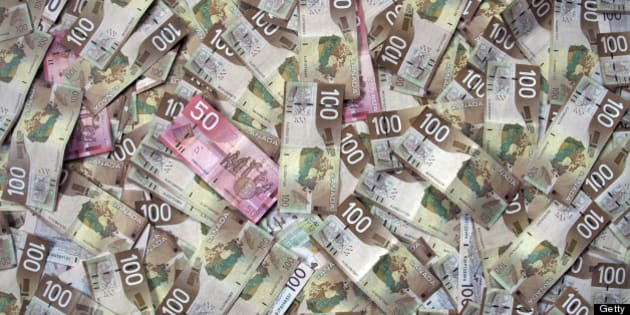 Full-frame of Canadian money or currency. $100 and $50 dollar bills.