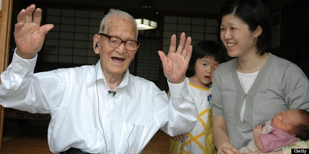 KYOTANGO, JAPAN - JUNE 20: (CHINA OUT, SOUTH KOREA OUT) Jiroemon Kimura celebrates being the oldest man in Japan at the age of 112 at his home on June 20, 2009 in Kyotango, Kyoto, Japan.  (Photo by The Asahi Shimbun via Getty Images)