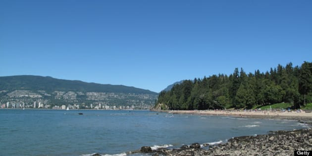 View of 3rd beach in Stanley Park, Vancouver, BC Canada.