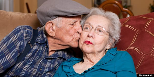 elderly husband and wife in...