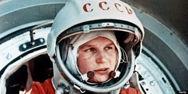 Vostok 6, soviet cosmonaut valentina tereshkova, the first woman in space, in front of the vostok capsule, june 1963. (Photo by: Sovfoto/UIG via Getty Images)
