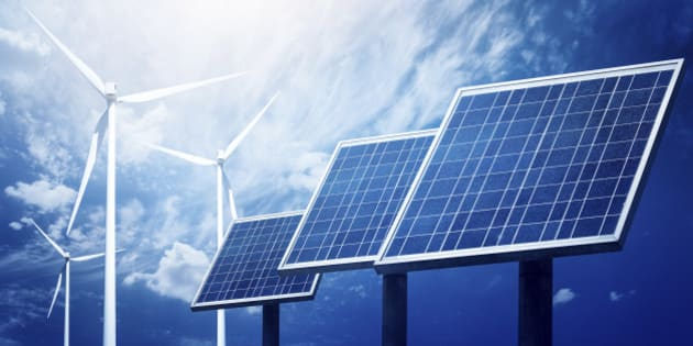 Close up picture to photovoltaic array panels in a raw