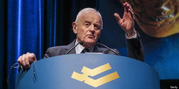 TORONTO, ON - APRIL 24: Peter Munk, Founder and Chairman of Barrick Gold speaking at their Annual General Meeting  being held at the Metro Toronto Convention Centre.        (David Cooper/Toronto Star via Getty Images)