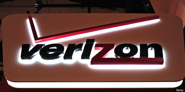 A Verizon Communications Inc. logo is seen on display at the Mobile World Congress in Barcelona, Spain, on Thursday, Feb. 17, 2011. The Mobile World Congress takes place at Fira de Barcelona conference center Feb. 14-17. Photographer: Denis Doyle/Bloomberg via Getty Images