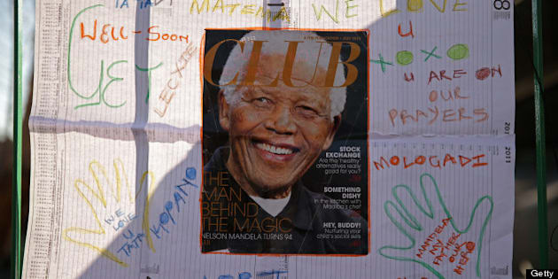 PRETORIA, SOUTH AFRICA - JUNE 25:  One of the dozens of hand-made messages of support for former South African President Nelson Mandela is posted to the wall outside the Mediclinic Heart Hospital June 25, 2013 in Pretoria, South Africa. South African President Jacob Zuma confirmed on June 23 that Mandela's condition has become critical since he was admitted to the hospital over two weeks ago for a recurring lung infection.  (Photo by Chip Somodevilla/Getty Images)