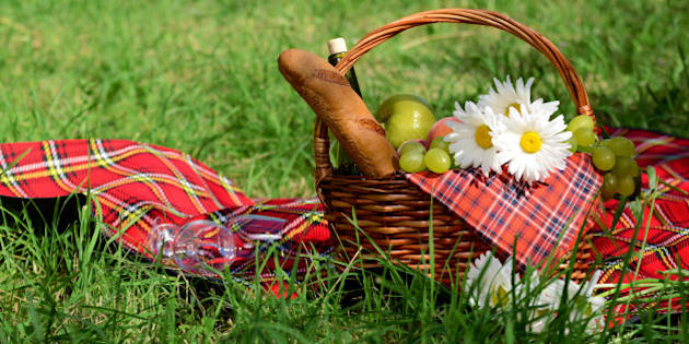 picnic basket with red napkin...
