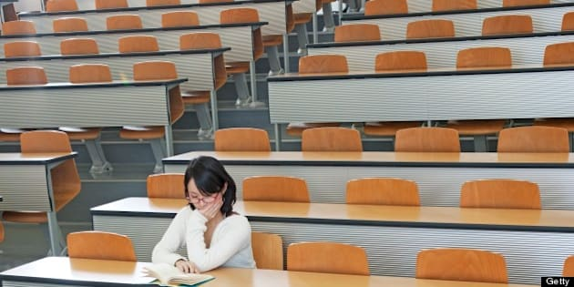 japanese college student in the class room