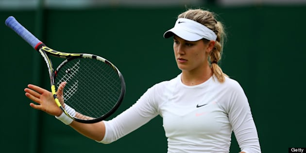 LONDON, ENGLAND - JUNE 28:  Eugenie Bouchard of Canada juggles her racquet during her Ladies' Singles third round match against Carla Suarez Navarro of Spain on day five of the Wimbledon Lawn Tennis Championships at the All England Lawn Tennis and Croquet Club on June 28, 2013 in London, England.  (Photo by Clive Brunskill/Getty Images)