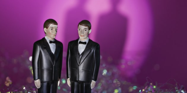 Two male figurines in formal attire illustrate same sex union. Pink and rainbow background with shadows adds drama but leaves ample copy space for a non threateaning way to illustrate the concept. Canon Eos 5D Mk 2. Discover more in