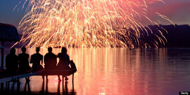 The Annual 4th of July Fireworks show at North lake, Michigan.