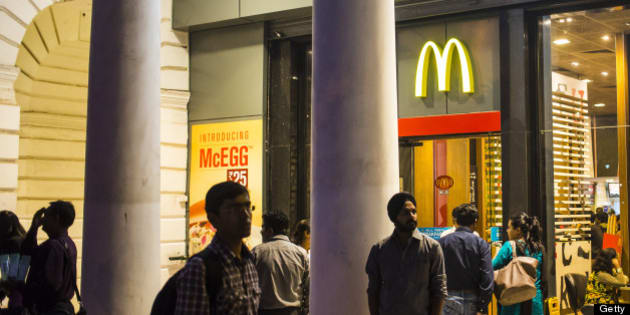 DELHI, INDIA - DECEMBER 01: McDonalds fast food restaurat at Connaught Place, a luxury shopping area in the city centre of New Delhi on December 01, 2012 in Delhi, Delhi, India. (Photo by EyesWideOpen/Getty Images)