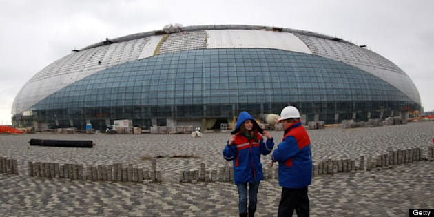 SOCHI, RUSSIA - FEBRUARY 10:  A general view shows the construction site of the 'Bolshoi' Olympic ice dome on February 10, 2012 in Sochi, Russia. The design of the ice dome is based on an image of a frozen drop of water and will shine silver when completed in May 2012. The venue will be used as a multi-functional sports, concerts and entertainment arena after the Games.  (Photo by Alexander Hassenstein/Bongarts/Getty Images)