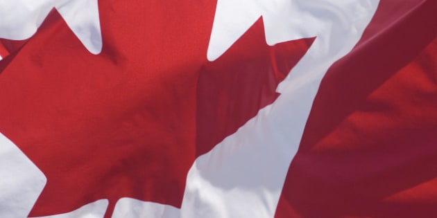 Canadian Flag, hanging from Building, Full Frame