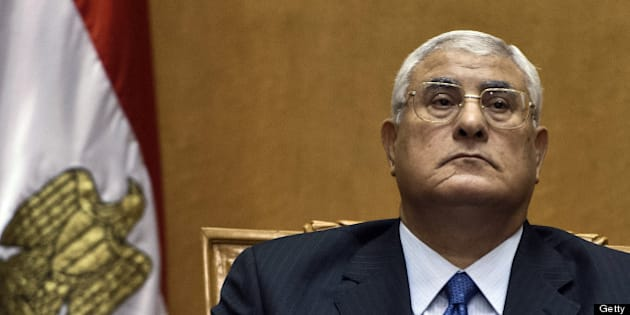Egypt's chief justice Adly Mansour pauses during his swearing-in ceremony as Egypt's interim president in the Supreme Constitutional Court in Cairo on July 4, 2013, a day after the military ousted and detained president Mohamed Morsi following days of massive protests.  The ceremony, which was broadcast live on national television, came after the military swept aside Morsi, a little more than a year after the Islamist leader took office. AFP PHOTO / KHALED DESOUKI        (Photo credit should read KHALED DESOUKI/AFP/Getty Images)