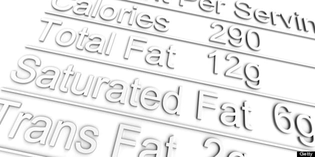 3D nutrition label on white