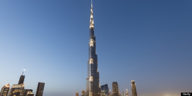 Evening view of Burj Khalifa tower the world's tallest structure and skyline in Dubai, UAE.