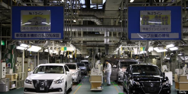 Toyota Motor Corp. Crown sedans undergo inspection at the company's Motomachi plant in Toyota City, Aichi Prefecture, Japan, on Thursday, Jan. 17, 2013. Toyota probably has regained its spot as the world's top-selling automaker after losing it in 2011 following disasters in Asia that hurt its ability to make cars and trucks. Photographer: Tomohiro Ohsumi/Bloomberg via Getty Images