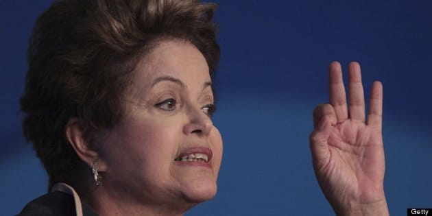 BRASILIA, BRAZIL - JULY 10:  (BRAZIL OUT) The President of Brazil, Dilma Rousseff speaks during the XVI March to Brasilia in Defense of Municipalities at the Royal Tulip Alvorada Hotel on 10 July 2013 in Brasilia, Brazil. (Photo by Andre Coelho/Globo via Getty Images)