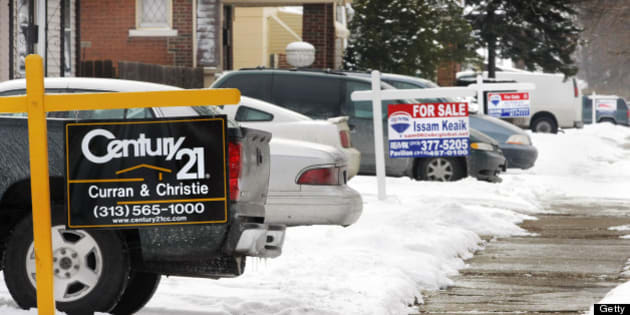 DETROIT - FEBRUARY 14:   Real estate signs sit in front yard of four houses on one a block February 14, 2008 in Detroit, Michigan. The Detroit area, hit hard by a combination of unemployment and a slumping housing market, had the highest foreclosure rate in the nation last year. (Photo by Bill Pugliano/Getty Images)DETROIT - FEBRUARY 14: is shown February 14, 2008 in Detroit, Michigan. The Detroit area, hit hard by a combination of unemployment and a slumping housing market, had the highest foreclosure rate in the nation last year. (Photo by Bill Pugliano/Getty Images)