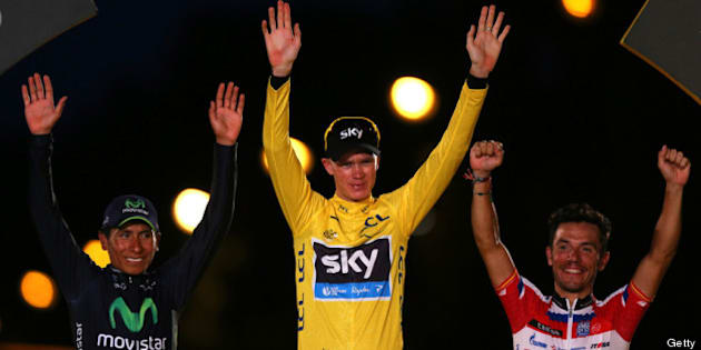 PARIS, FRANCE - JULY 21:  Winner of the 2013 Tour de France, Chris Froome of Great Britain and SKY Procycling (C) celebrates on the podium alongside second placed, best young rider and King of the Mountain Nairo Quintana (L) of Colombia and Movistar Team, and third placed Joaquin 'Purito' Rodriguez of Spain and Team Katusha after the twenty first and final stage of the 2013 Tour de France, a processional 133.5KM road stage ending in an evening race around the Champs-Elysees, on July 21, 2013 in Paris, France.  (Photo by Bryn Lennon/Getty Images)