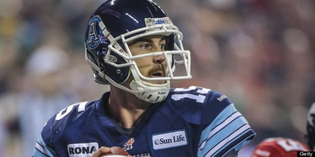 TORONTO, ON - NOVEMBER 25:  Argos QB Ricky Ray passes during the game as the Toronto Argonauts win the 100th Grey Cup 35-22 over the Calgary Stampeders at The Rogers Centre November 25 2012  DAVID COOPER/TORONTO STAR        (David Cooper/Toronto Star via Getty Images)