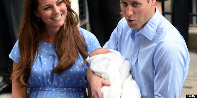 LONDON, UNITED KINGDOM - JULY 23:  Prince William, Duke of Cambridge and Catherine, Duchess of Cambridge with their newborn son speak to the media before departing the Lindo Wing of St Mary's Hospital on July 23, 2013 in London, England. Catherine, Duchess of Cambridge yesterday gave birth to a boy at 16.24 BST and weighing 8lb 6oz, with Prince William, Duke of Cambridge at her side. The baby, as yet unnamed, is third in line to the throne and becomes the Prince of Cambridge.  (Photo by Anwar Hussein/WireImage)