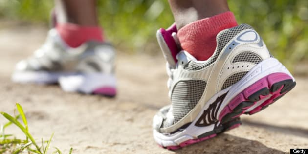 Closeup female foot. Woman running at a slow and leisurely pace.