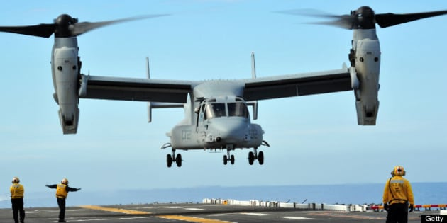 March 1, 2011 - A U.S. Marine Corps MV-22 Osprey aircraft prepares to land on the flight deck of amphibious assault ship USS Makin Island in the Pacific Ocean. This was the first Osprey landing on a west coast amphibious assault ship since the aircraft was introduced to the fleet.