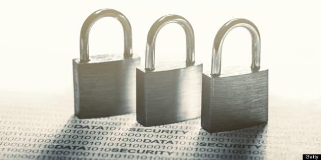 Data security - padlocks on binary code