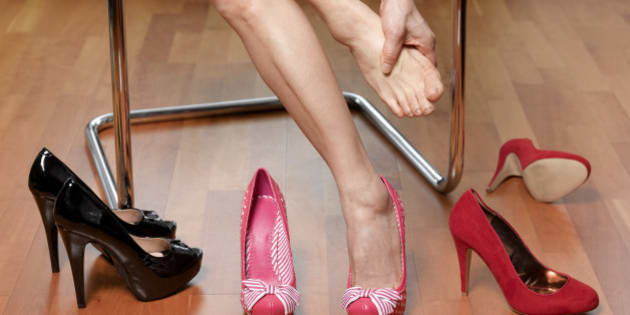 Sore feet trying on shoes