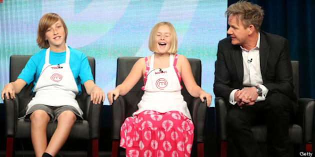 BEVERLY HILLS, CA - AUGUST 01:  (L-R) Contestants Troy, Sarah, and Judge/Executive Producer Gordon Ramsay speak onstage during the Junior MasterChef panel discussion at the FOX portion of the 2013 Summer Television Critics Association tour - Day 9 at The Beverly Hilton Hotel  on August 1, 2013 in Beverly Hills, California.  (Photo by Frederick M. Brown/Getty Images)
