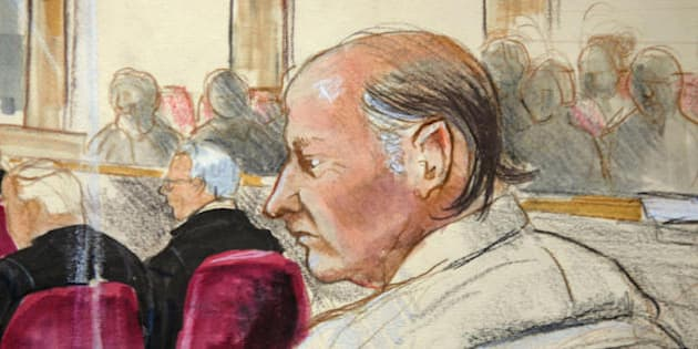 New Westminster, CANADA:  This artist's drawing shows accused serial killer Robert William Pickton sitting in court 22 January 2007 in New Westminster, Canada. The grisly murder trial of pig farmer Robert William Pickton, accused in Canada's worst serial killings, began 22 January 2007 in a case described by a judge as a horror film.        AFP PHOTO/Drawing by Felicity Don  (Photo credit should read FELICITY DON/AFP/Getty Images)