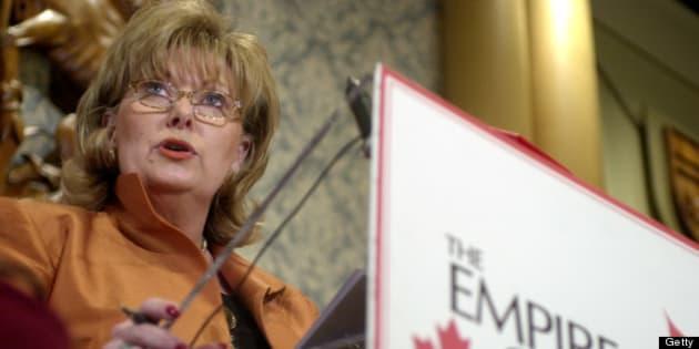 PAMELAWALLIN-APRIL 28, 2003-Pamela Wallin, Canadian envoy to New York, speaks to the Canadian Club in Toronto, April 28, 2003. (TANNIS TOOHEY/TORONTO STAR) (Photo by Tannis Toohey/Toronto Star via Getty Images)