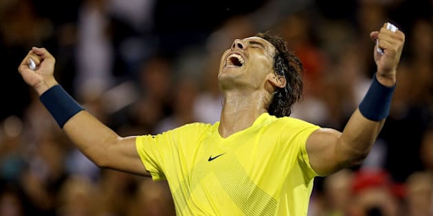 MONTREAL, QC - AUGUST 10:  Rafael Nadal of Spain celebrates his win over Novak Djokovic of Serbia during the semifinals of the Rogers Cup at Uniprix Stadium on August 10, 2013 in Montreal, Quebec, Canada.  (Photo by Matthew Stockman/Getty Images)