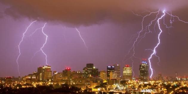 Edmonton Flash Flood Thunderstorm Lightning Put On A Show City Arteries PHOTOS