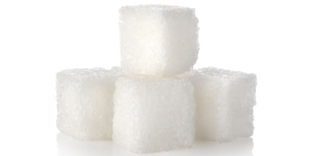 sugar cube isolated on a white...